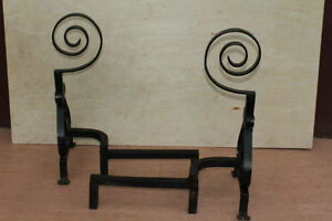 American-Wrought-Iron-Firepalce-Andirons-with-Scroll-Finial-Circa-19th