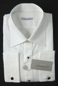 New-PAL-ZILERI-Cerimonia-Stripe-French-Cuff-Tuxedo-Dress-Shirt-18-45-NWT-295