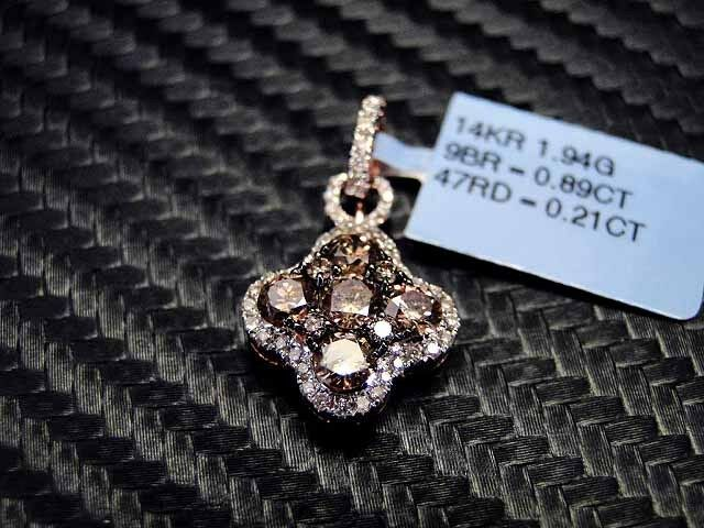 14K Rose/Pink Gold Chocolate Color Diamond Pendant Charm 1.1Cts Pave Round Cut