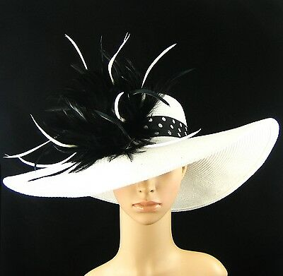 NEW Church Kentucky Derby WHITE Hat Feathers Wide Brim Dress Wedding Tea Party