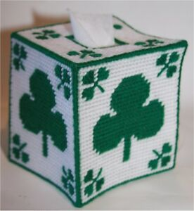St-Patrick-039-s-Day-Shamrock-Tissue-Topper-Plastic-Canvas-Pattern