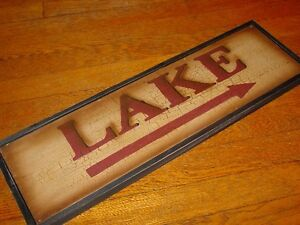 LAKE-ARROW-Rustic-Crackle-Finish-Wood-Framed-Fishing-Cabin-Wall-Decor-Sign-NEW