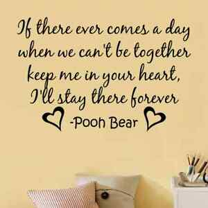 Image Is Loading WINNIE THE POOH HEART FOREVER Quote Vinyl Wall  Part 96