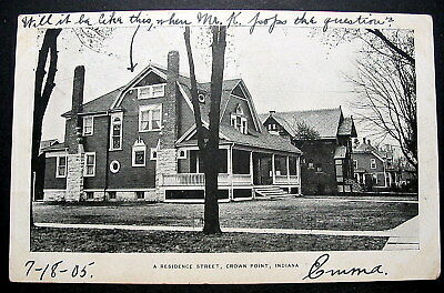 CROWN POINT INDIANA   -- STREET SCENE  - HOMES -  1905