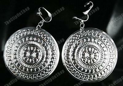 CLIP ON big BOHO DISC EARRINGS silver plated BOHEMIUM ROUND RETRO hoop DISCS