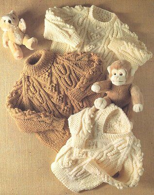 """Rich Texture Baby Children  Aran Crew- Polo & V Neck Sweater  20"""" - 28"""" To Knit"""