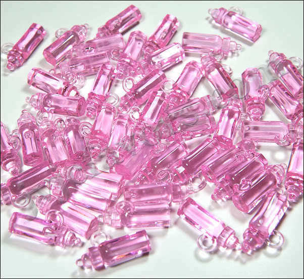 48 pcs Bottle Charms Baby SHOWER Favor Clear Pink GIRL Decor Party Decorations