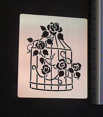Stainless/Steel/stencil/Oblong/Rose/Summer/house/Bird/cage/emboss