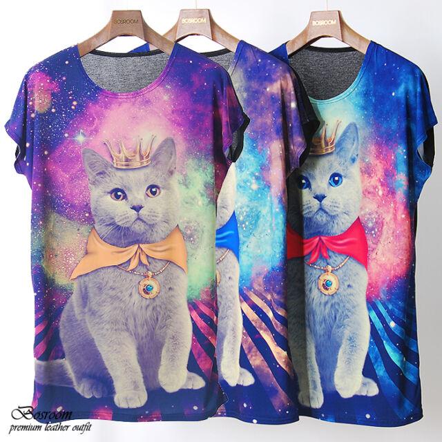 BR women Galaxy cat cute graphic print t-shirt long rock punk top dress S M L