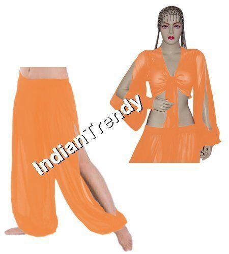 Slit Harem Pant Top Choli Belly Dance Tribal Yoga Pantaloons Trousers Chiffon