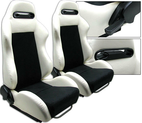 NEW 2 BLACK WHITE LEATHER RACING SEATS RECLINABLE w/ SLIDER ALL HONDA