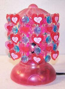 RED-MERRY-GO-ROUND-BEAD-HEART-LAMP-night-lights-NEW