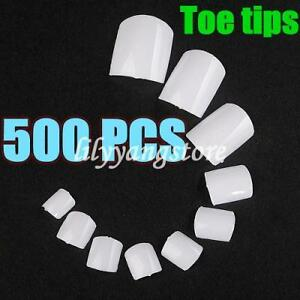 500pcs-French-False-White-Acrylic-Salon-DIY-Nail-Art-Design-Toe-Tips-NEW