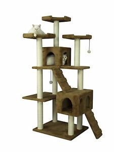 74-034-Cat-Tree-Toy-Condo-Furniture-Scratcher-Post-Pet-House-Brown-GP117407