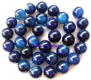 Blue-Agate-Round-gemstone-Beads-15-034-6mm-8mm-10mm-12mm-18mm