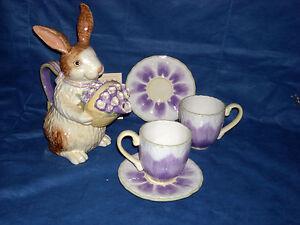 Easter Bunny Teapot Holding Crocus Basket Amp 2 Crocus Cup