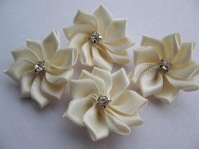 20 Satin Ribbon Flower Rhinestone Appliques/Trims-Ivory