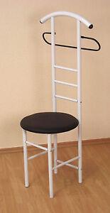 herrendiener mit sitz garderobe stummer diener stuhl schwarz weiss kunstleder ebay. Black Bedroom Furniture Sets. Home Design Ideas