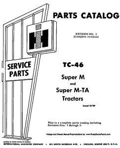farmall ih models super m and super mta parts manual tc