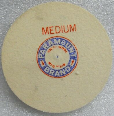 "4"" DIA 1/4"" WIDE MEDIUM PARAMOUNT USA FELT WHEEL BUFF PIN HOLE POLISHING BUFFING"