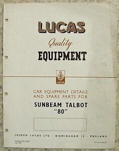 LUCAS-SUNBEAM-TALBOT-80-Car-Equipement-amp-Spare-Parts-List-1949-CE472