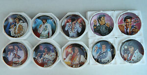 Lot-of-10-Elvis-Presley-Plates-Remembering-Rhinestone-Plates-Commemorating-King