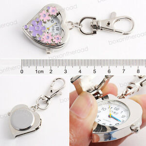 Key-Ring-Quartz-Pink-Purple-Heart-5-Followers-Porket-Pendent-Watch-New-Gift