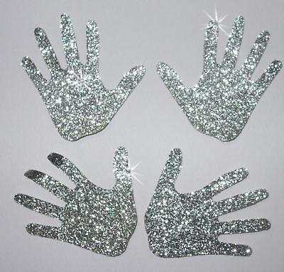 FABRIC HANDS GLITTER SILV iron-on TSHIRT TRANSFER PATCH