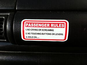 funny passenger rules sticker car 4x4 van 4wd offroad quad boat jetski visor ebay. Black Bedroom Furniture Sets. Home Design Ideas