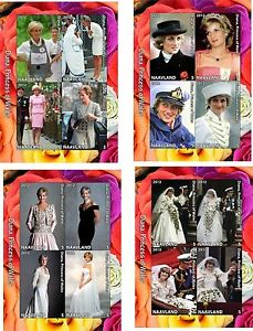 2012-LADY-DIANA-PRINCESS-OF-WALES-4-SOUVENIR-SHEETS-MNH-IMPERFORATED