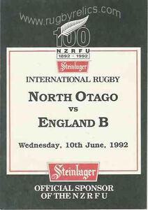 NORTH-OTAGO-v-ENGLAND-B-10th-June-1992-RUGBY-PROGRAMME