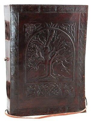 Large 10x7 Celtic Tree of Life Leather Book of Shadows! pagan wicca witch