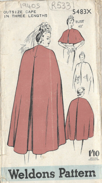 "1940s Vintage Sewing Pattern CAPE B42"" (R533)"