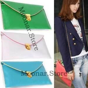 Korea-Style-Womens-Envelope-Clutch-Chain-Purse-HandBag-Shoulder-Bag-12-Colors