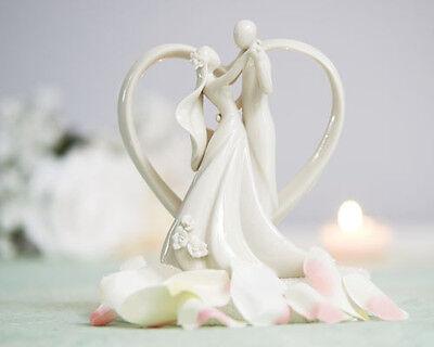 Contemporary White Porcelain Dancing Bride & Groom in Heart Wedding Cake Topper