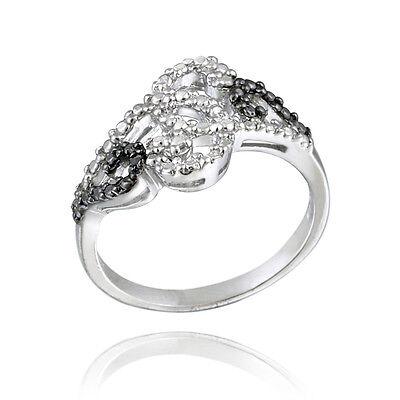 925 Silver Black Diamond Accent Swirl Design Ring