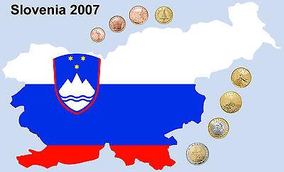 Full set of SLOVENIA SLOWENIEN SLOVÉNIE  Euro coins 2007