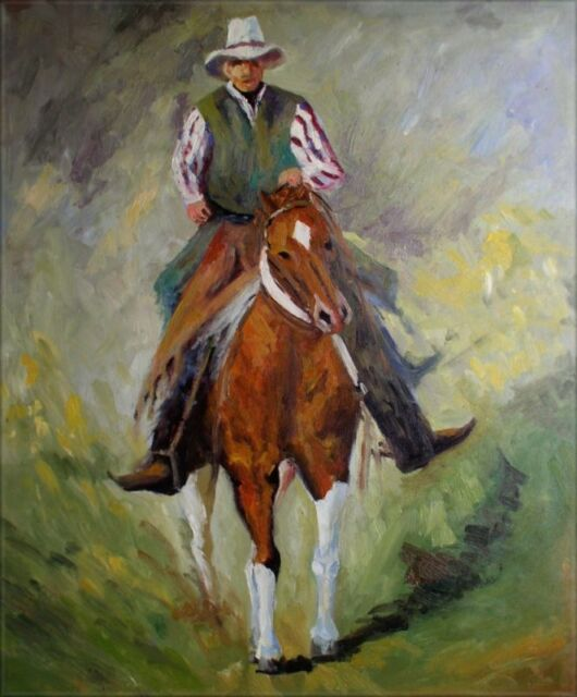 Quality Hand Painted Oil Painting Cowboy on Horse Back II 20x24in