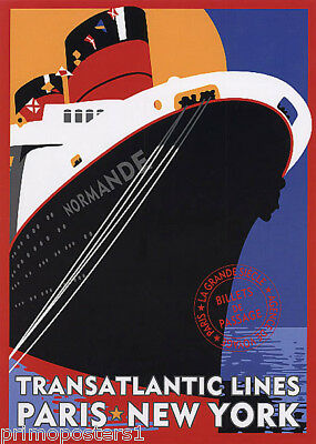 TRANSATLANTIC LINES PARIS NEW YORK SHIP CRUISE TRAVEL VINTAGE POSTER REPRO