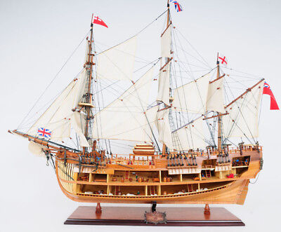 "HMS Bark Endeavour Cutaway Wooden Tall Ship Model 37"" Fully Assembled New"
