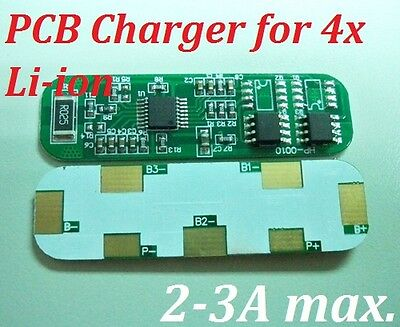 PCB Charger for 4 Packs 3.7V Li-ion Li Lithium 18650 Battery Rechargeable 2-3A