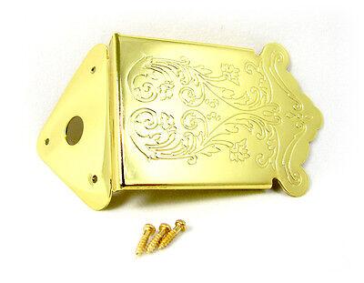 Beautiful, Ornate Gold Mandolin or Cigar Box Guitar Tailpiece   31-13-01