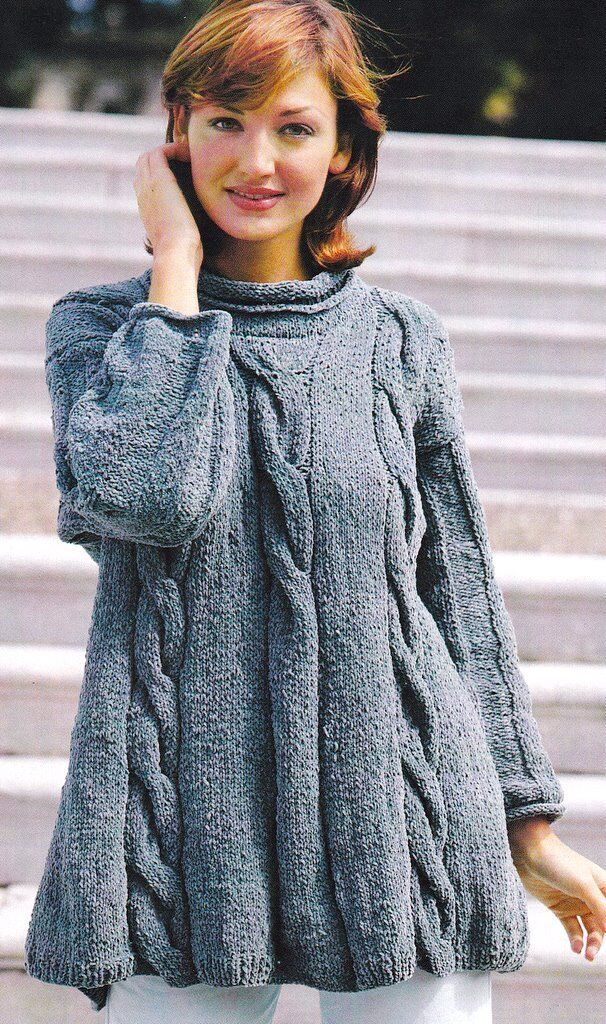 Giant Cable Swing Sweater Knitting Pattern In Boucle Or Aran 32
