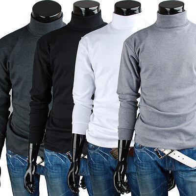 Men's turtleneck solid casual basic Elastic long sleeve t-shirt (HG_001)