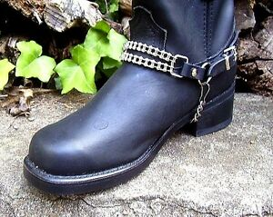 BIKER-BOOTS-BOOT-CHAINS-BLACK-TOPGRAIN-COWHIDE-LEATHER-WITH-CYCLE-CHAINS