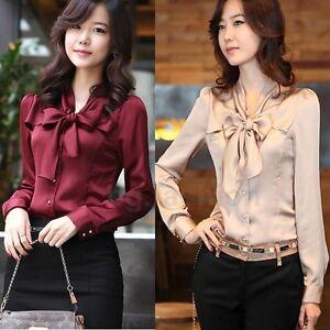 NEW-Korea-Womens-Long-Sleeve-Bowknot-Vintage-Shirts-Ladies-Bowtie-OL-Tops-Blouse