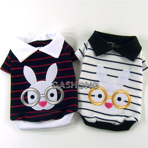 Dog&Cat Clothes Embroidered Rabbit with Glasses,Bunny Polo Shirts_A300