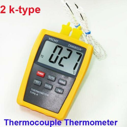 Digital thermometer with Probe Temperature Industry K Type Dual Sensor DM6802A