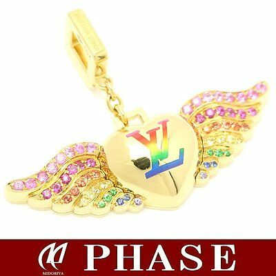 R★RE Yellow Gold 750YG Charm Angel LV Louis Vuitton Necklace Charm Pendant Wings