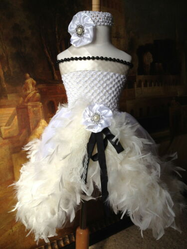 feather tutu dress wedding party baby shower birthday photograph girl 1T 2T3T4T